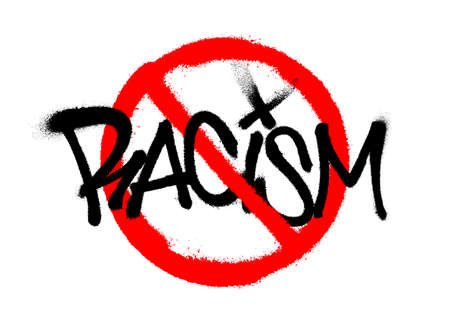 Crossed out racism sprayed font graffiti with overspray in black over white. Vector graffiti art illustration. Vettoriali