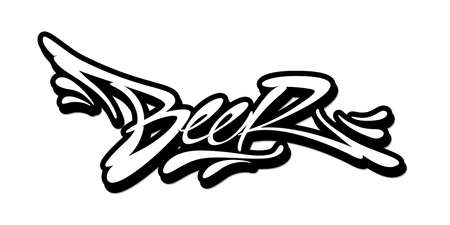 Beer word drawn by hand in graffiti style. Vector illustration Vettoriali