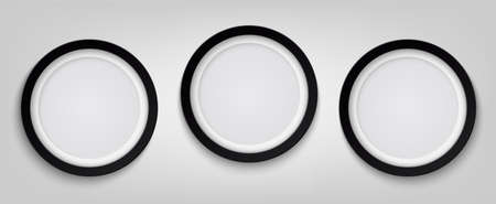 Three realistic circle black photo frame isolated on transparent background. Vector illustration EPS 10