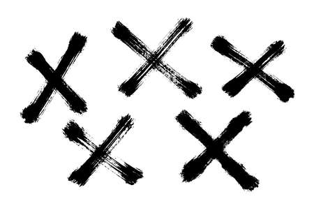 Different cross shapes painted with a brush. Vector illustration