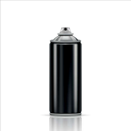 Black steel spray can on a transparent background. Vector illustration Vettoriali