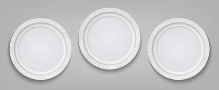 Three realistic circle white photo frame isolated on transparent background. Vector illustration.