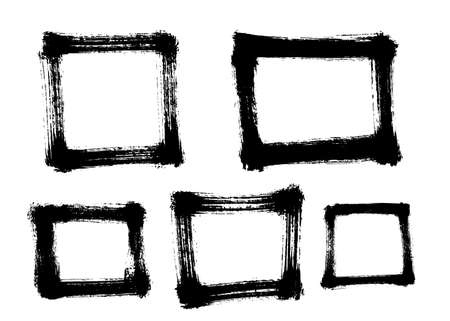 Different square frames painted with a brush. Vector illustration