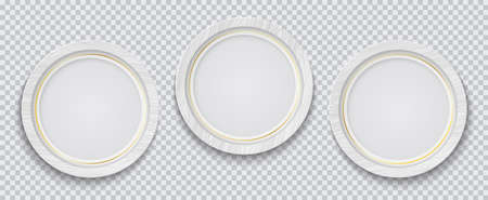 Three realistic circle white photo frame with golden line isolated on transparent background. Vector illustration.