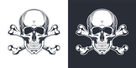 Vintage monochrome skull with crossbones isolated vector illustration Иллюстрация
