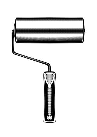 Drawing monochrome paint roller. Isolated vector illustration template on white background Иллюстрация