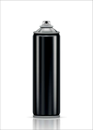 Black steel spray can on a white background. Vector illustration