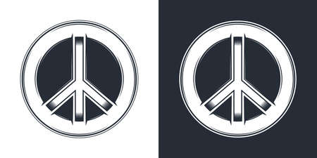 Monochrome peace symbol in round print vector icon. Vintage style isolated vector illustration. Фото со стока - 151993785