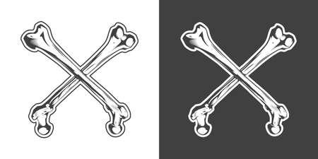 Vintage monochrome crossbones. Isolated vector illustration template Иллюстрация