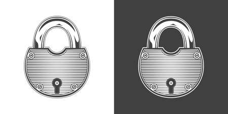 Vintage monochrome highly detailed lock illustration. Isolated vector template Иллюстрация