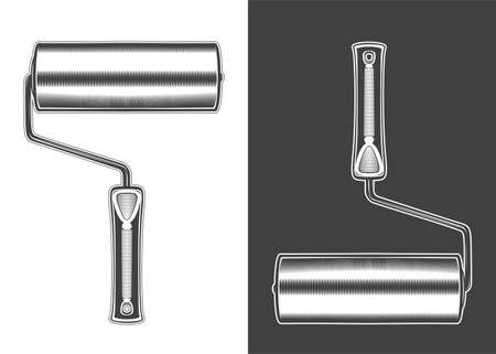 Vintage monochrome highly detailed paint roller illustration. Isolated vector template