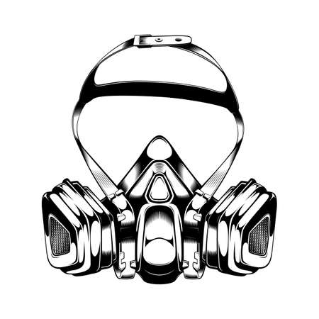 Vintage monochrome highly detailed respirator illustration. Isolated vector template Иллюстрация