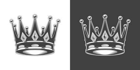 Vintage monochrome highly detailed crown illustration. Isolated vector template