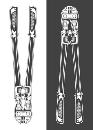 Vintage monochrome highly detailed bolt cutter illustration. Isolated vector template