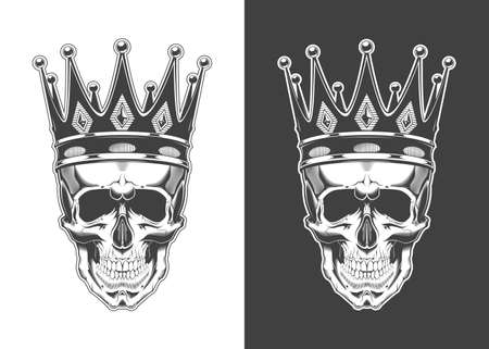 Vintage monochrome skull with crown isolated vector illustration