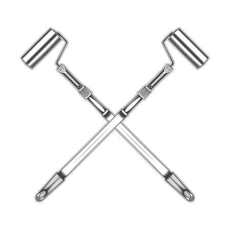 Vintage monochrome crossed highly detailed paint roller illustration. Isolated vector template