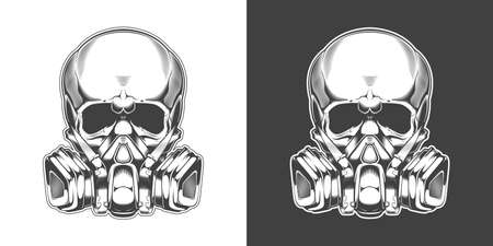 Vintage monochrome skull with respirator isolated vector illustration