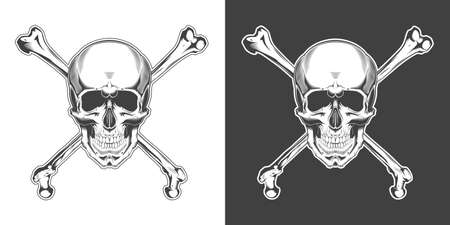 Vintage monochrome skull with crossbones isolated vector illustration Фото со стока - 152132362