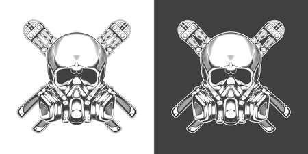 Vintage monochrome skull with respirator and bolt cutter isolated vector illustration