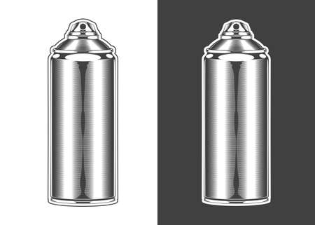 Vintage monochrome highly detailed spray can illustration. Isolated vector template