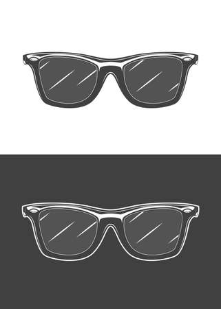 Vintage monochrome detailed sunglasses illustration. Isolated vector template Фото со стока - 153245157