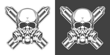 Vintage monochrome skull with respirator and crossed spray cans isolated vector illustration 矢量图像