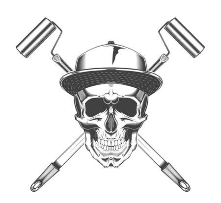 Vintage monochrome skull with baseball cap and crossed paint roller illustration. Isolated vector template Фото со стока - 153245162