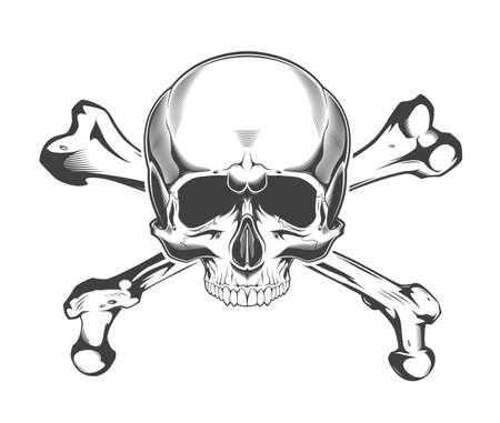 Vintage monochrome skull with crossbones isolated vector illustration Фото со стока - 153245167