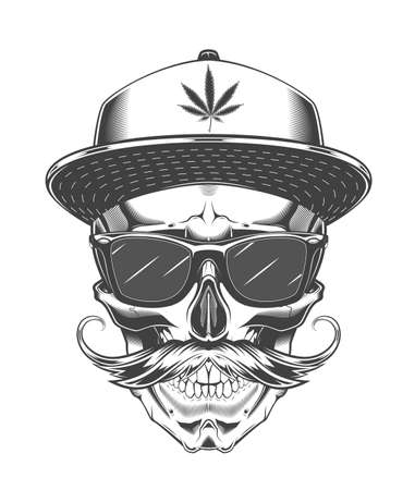 Vintage monochrome skull with sunglasses, baseball cap and mustache. Isolated vector template