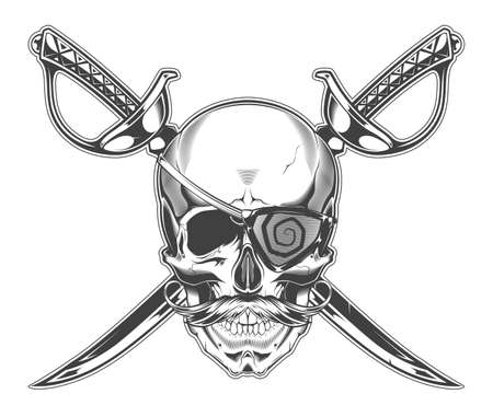 Vintage monochrome illustration of skull with mustache and eye patch and crossed sabers. Isolated vector template Иллюстрация