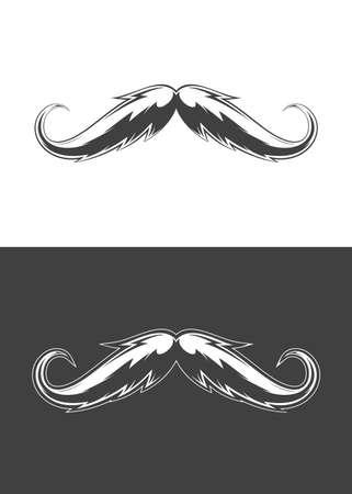 Vintage monochrome detailed mustache illustration. Isolated vector template Иллюстрация
