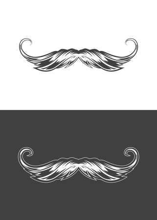 Vintage monochrome detailed mustache illustration. Isolated vector template Фото со стока - 153340957