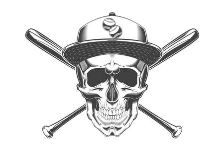 Vintage monochrome skull with baseball cap and crossed baseball bats illustration. Isolated vector template