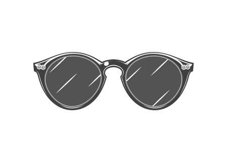 Vintage monochrome detailed sunglasses illustration. Isolated vector template Иллюстрация