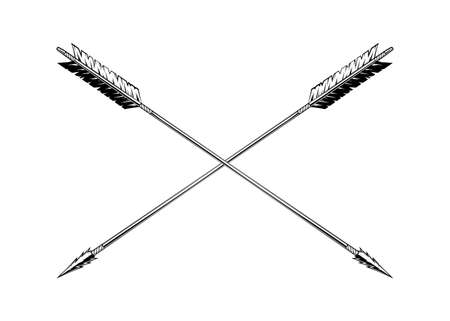 Vintage monochrome crossed arrows illustration. Isolated vector template Фото со стока - 153649599