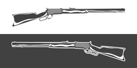 Vintage monochrome rifle illustration. Isolated vector template