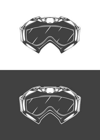 Vintage monochrome detailed mask illustration. Isolated vector template Фото со стока - 153956979