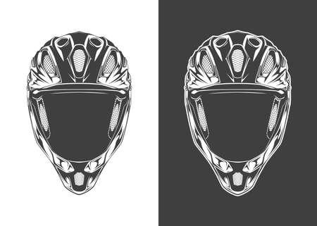 Vintage monochrome detailed helmet illustration. Isolated vector template