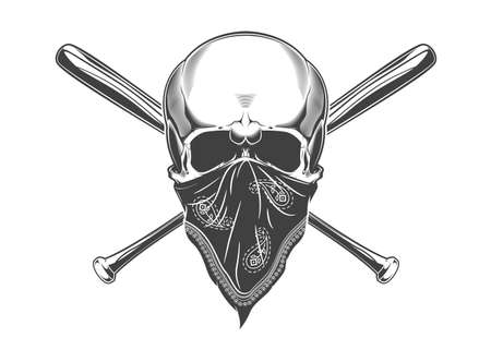 Vintage monochrome skull with bandana and crossed baseball bats illustration. Isolated vector template