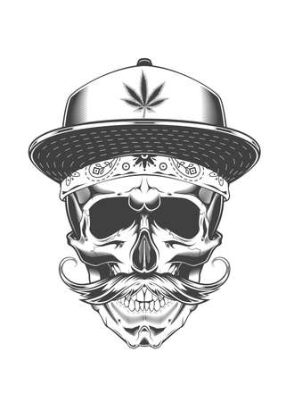 Vintage monochrome skull with baseball cap, bandana and mustache. Isolated vector template Иллюстрация
