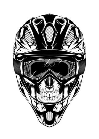 Vintage monochrome illustration of skull with helmet and mask. Isolated vector template