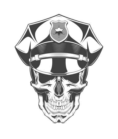 Vintage monochrome skull with police headdress illustration. Isolated vector template