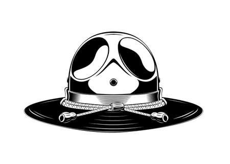 Vintage monochrome headdress illustration. Isolated vector template Иллюстрация