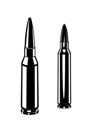 Vintage monochrome cartridge for machine gun illustrations. Isolated vector template