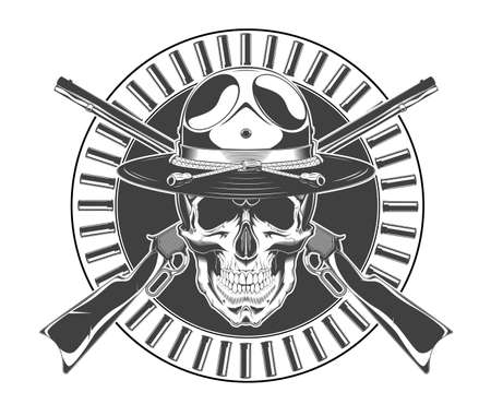 Vintage monochrome skull with police headdress and crossed rifles illustration. Isolated vector template Фото со стока - 155284013