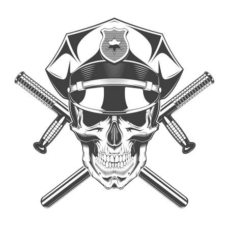 Vintage monochrome skull with police headdress and crossed batons illustration. Isolated vector template Иллюстрация