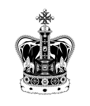Vintage monochrome highly detailed crown illustration. Isolated vector template Фото со стока - 156538860