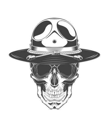 Vintage monochrome illustration of skull with police headdress and sunglasses. Isolated vector template