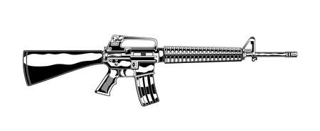 Vintage monochrome detailed illustration of m 16 assault rifle. Isolated vector template Иллюстрация