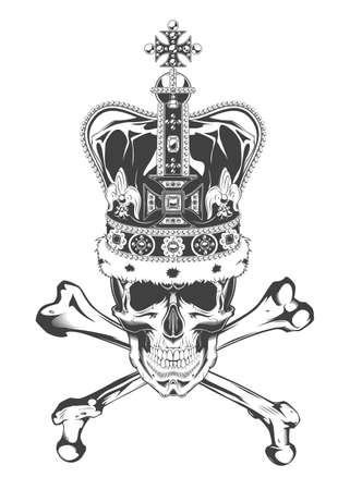 Vintage monochrome skull with crossbones and crown. Isolated vector illustration